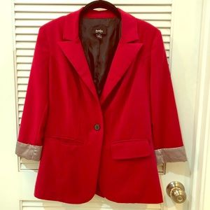 by & by BLAZER - Red with pinstripe cuffs